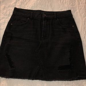 Black Distressed Denim Skirt